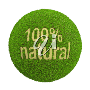 Ball with inscription of natural grass product gaps background