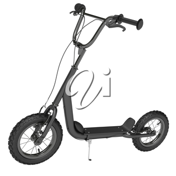 Matte black scooter with hand brakes on a white background