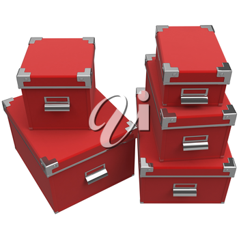 Boxes of large, medium and small sized metal chrome handles. 3D graphic object on white background isolated