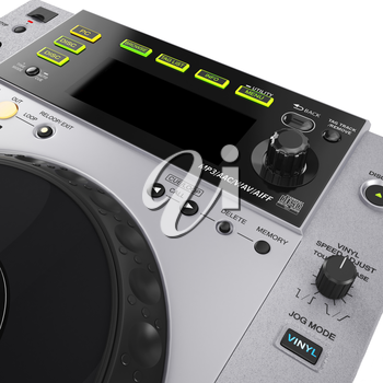 Professional gray CD player. LED display white background. 3D graphic