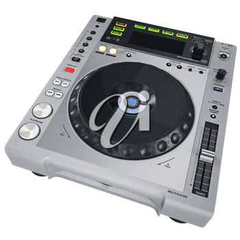 Grey CD player on a white background. 3D graphic