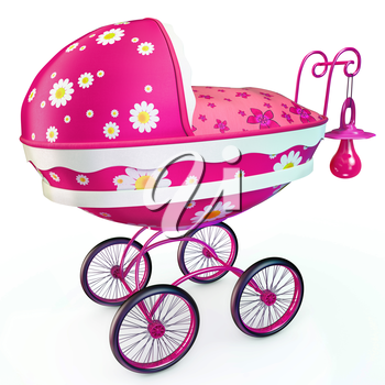 Pink buggy with babys dummy on handle