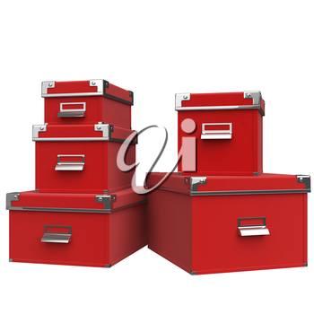 Red boxes are on each other with chrome handles. 3D graphic object on white background isolated