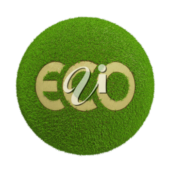 Ecological land as green spheres on a white background