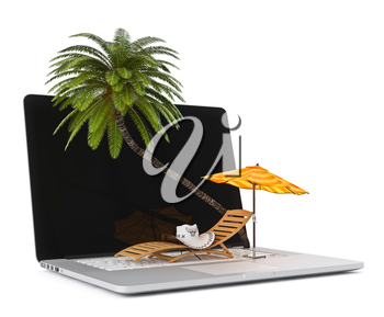 Sun beds and umbrellas on the computer. Hat on a lounger. Palma on a laptop