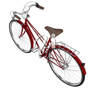 Classic bike red with leather seat and chrome detailed elements. 3D graphic object on white background isolated.