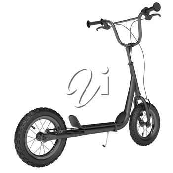 General view of the matt black scooter with brake system