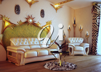 White sofa and chair in the room. Interior of modern style. Room with a decor