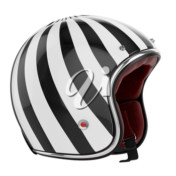 Motorcycle helmet black white striped. Helmet modern style.