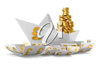 Conceptual paper boat floating in the currency Pound sterling and carries a large pile of coins isolated on a white background