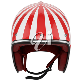 Motorcycle helmet red white striped. Helmet classic style. Helmet top view.