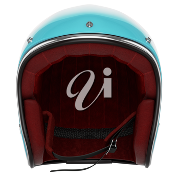 Motorcycle helmet turquoise white. Motorcycle helmet old-fashioned. Helmet front view.