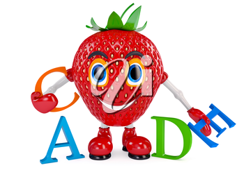 Strawberry character with letters. Illustrated Strawberry white background