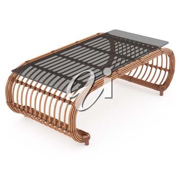 Wooden table with rattan to Rattan furniture isolated on a white background. 3D graphics