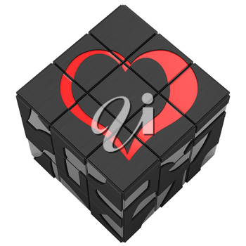 Square sign heart on a white background. Put an heart on the cube. Red love that prevailed