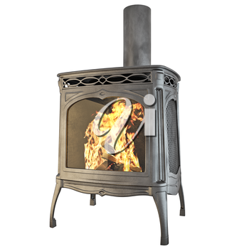 Classic fireplace with fire isolated on a white background. 3D graphics