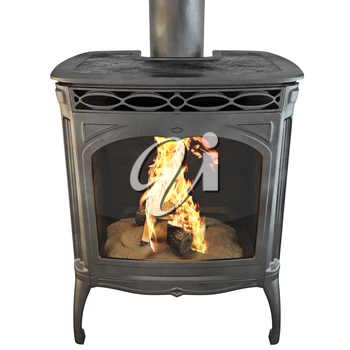 Black classic fireplace with fire isolated on a white background side view. 3D graphics