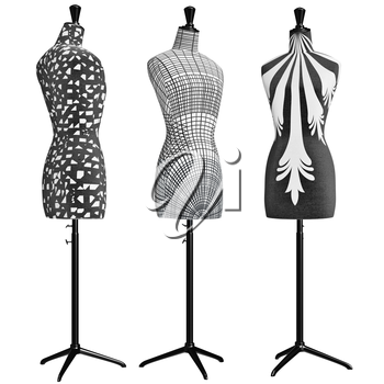 Classical female mannequins trimmed cloth. 3D graphic object on white background isolated