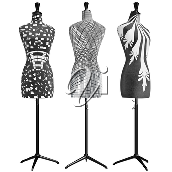 Classical female mannequins headless. 3D graphic object on white background isolated