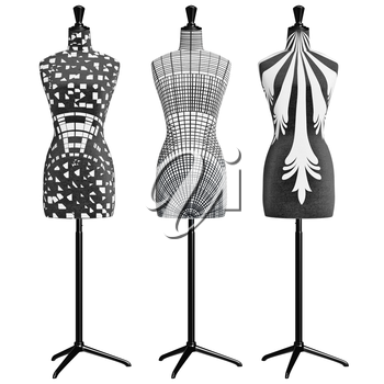Women's classic mannequins on a metal tripod, front view. 3D graphic object on white background isolated