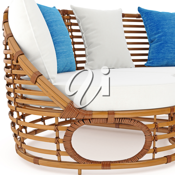 Rattan sofa with pillows zoomed view. 3D graphic object on white background