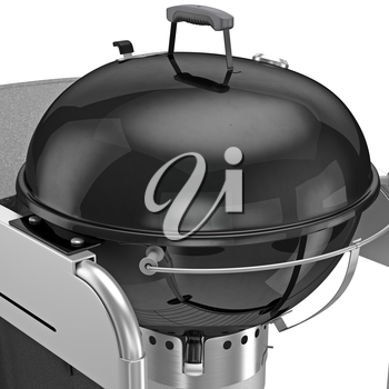 Barbecue charcoal, zoomed view. 3D graphic object on white background