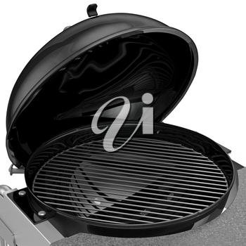 Charcoal Grill with folding metal lid for roasting, zoomed view. 3D graphic object on white background