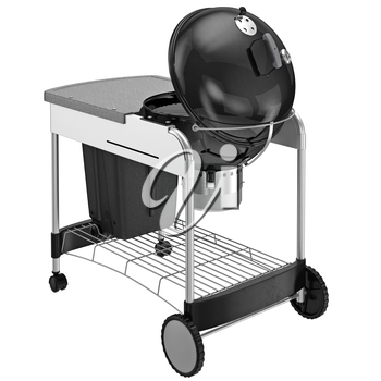 Grill on wheels with desk and a chrome grille. 3D graphic object on white background isolated