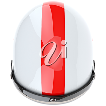 Glossy sports helmet with eye protection and red stripe, top view. 3D graphic object on white background isolated