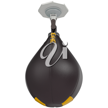 Black speed punching bag. 3D graphic object on white background isolated
