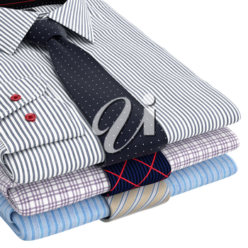 Classic men's shirts and ties folded, zoomed view. 3D graphic object on white background