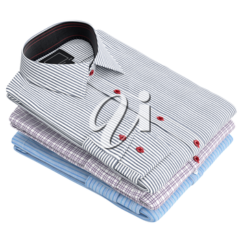 Folded classic men's shirt. 3D graphic object on white background isolated