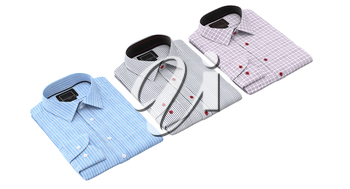 Set of striped and checkered shirts. 3D graphic object on white background isolated