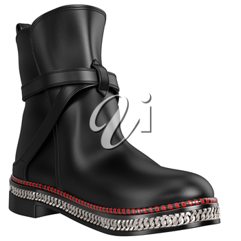 Women's leather boots with silver chain. 3D graphic object on white background isolated