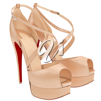 Beige shoes with heels. 3D graphic object on white background isolated
