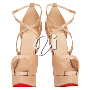 Women's beige leather sandals, front view. 3D graphic object on white background isolated