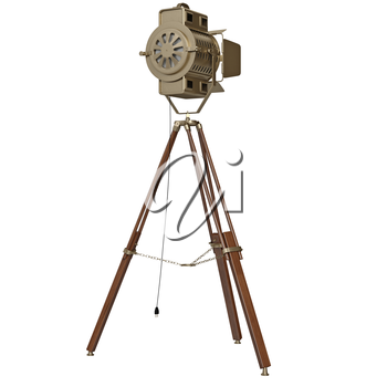 Spotlight with wooden tripod. 3D graphic object on white background isolated