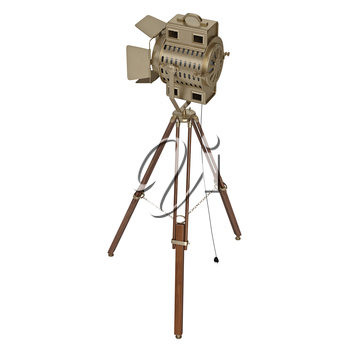 Stage lamp with wooden tripod. 3D graphic object on white background isolated