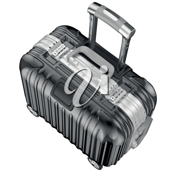 Luggage on wheels, top view. 3D graphic object isolated on white background