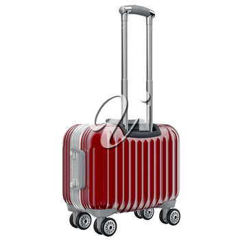 Small red luggage. 3D graphic object isolated on white background