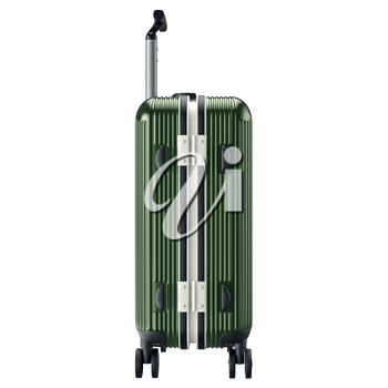 Luggage for travel, side view. 3D graphic object isolated on white background