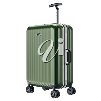 Green travel large luggage. 3D graphic object isolated on white background