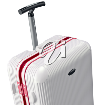 White luggage, zoomed view. 3D graphic object on white background