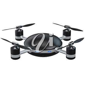 Flying drone with camera. 3D graphic object isolated on white background