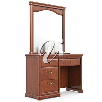 Modern dresser with mirror. 3D graphic isolated object on white background