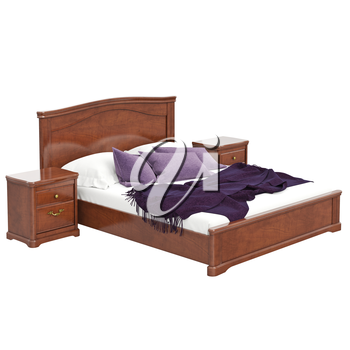 Large double bed. 3D graphic isolated object on white background