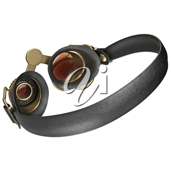 Glasses with round lenses steampunk, back view. 3D graphic isolated object on white background