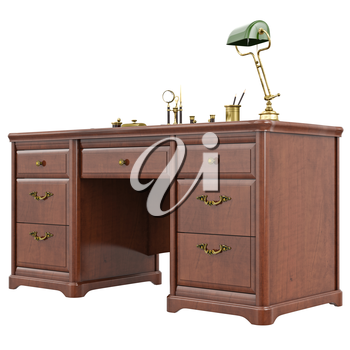 Table cabinet classic style. 3D graphic isolated object on white background