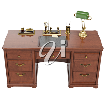 Desk written with lamp, top view. 3D graphic isolated object on white background