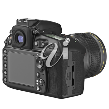 Black photo camera with large LCD display. 3D graphic